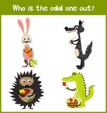 Children colorful educational cartoon game puzzle page for children's books and magazines on the theme extra find tropical predato Stock Photo