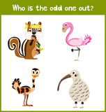 Children colorful educational cartoon game puzzle page for children's books and magazines on the theme get extra animal lovely bir Stock Image
