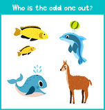 Children colorful educational cartoon game puzzle page for children's books and magazines on the theme get extra animal among mari Stock Images