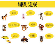 Children colorful educational cartoon page for children's books and magazines on the theme of the study of the sounds of cute farm. Animals and Pets. Vector vector illustration