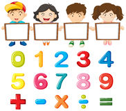 Children and colorful numbers Stock Images
