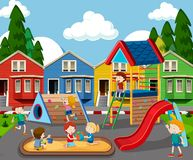Children in colorful playground. Illustration stock illustration