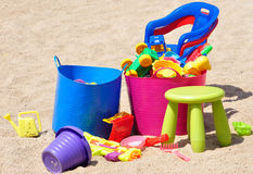 Children colorful toys in the sandbox Stock Photography