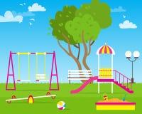 Children& colorido x27; campo de jogos de s com balanços Foto de Stock Royalty Free