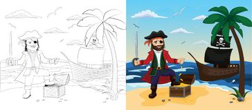 Pirate. Children vector illustration. Children coloring book with example of painted image. Pirate stands with treasure chest. Pirate ship on the seashore vector illustration