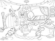 Children Coloring Cartoon House Family Mouse Vector Stock Photography