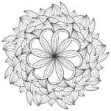 Children coloring, drawing mandala, flower. Leaves set of different plants and trees.