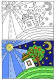Children coloring illustration Royalty Free Stock Photo