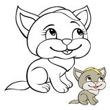 Children coloring page cat. Children coloring page with a cute  grey cat Royalty Free Stock Photo