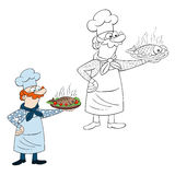 Children coloring page cooker. Children coloring page with a cute cooker who holds in his hand a food fish Royalty Free Stock Photo