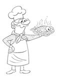 Children coloring page cooker. Children coloring page with a cute cooker who holds in his hand a food fish Stock Photos