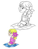 Children coloring page girl Royalty Free Stock Image