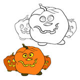 Children coloring page pumpkin vector illustration