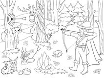 Children coloring raster arrow in the forest with animals. Zentangle style. Black and white line stock illustration