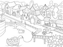 Children coloring raster fairy city with river. Zentangle style. Black and white line vector illustration