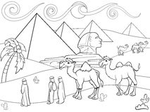 Children coloring vector landscape of Egypt with the pyramids. Zentangle style. Black and white line Stock Photos