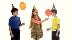 Children come to the birthday party and play stock footage