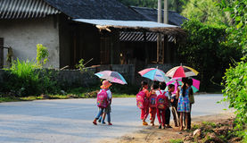 Children coming to school at early morning in Bacgiang, northern Vietnam Royalty Free Stock Photos