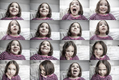 Children common expresions. Three years old little girl portraits stock photo