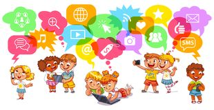 Children communicate with each other through social networks Stock Photos