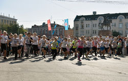Children compete during All-Russian Running Day Stock Photos