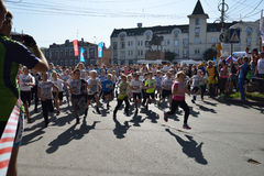 Children compete during All-Russian Running Day Royalty Free Stock Photography