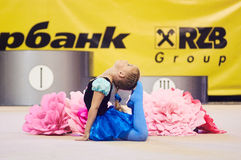 Children compete in international competitions on sport gymnastics Royalty Free Stock Photos