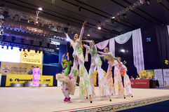Children compete in international competitions on sport gymnastics Stock Image
