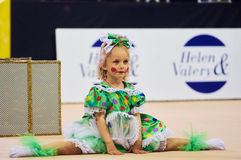 Children compete in international competitions on sport gymnastics Royalty Free Stock Images