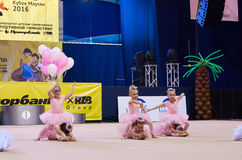 Children compete in international competitions on sport gymnastics Stock Images