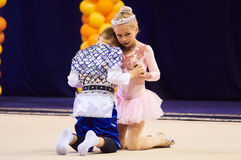 Children compete in international competitions on sport gymnastics Royalty Free Stock Photo