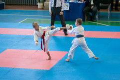 Children compete in karate stock image