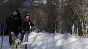 Children competition running with their dogs in winter stock video