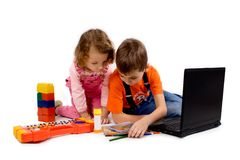 Children with the computer royalty free stock photos