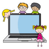 Children with a computer. Funny ilustration,  on white background Royalty Free Stock Photography