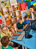 Children computer class us for education and video game. Royalty Free Stock Images