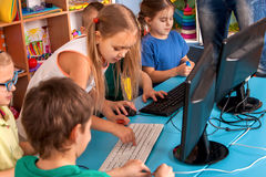 Free Children Computer Class Us For Education And Video Game. Royalty Free Stock Images - 96302799