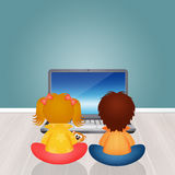 Children with computer. Illustration of children with computer Stock Images