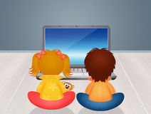 Children with computer. Illustration of children with computer Royalty Free Stock Photography