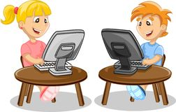Children and computer,vector Royalty Free Stock Images
