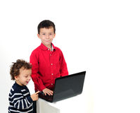 Children and computer laptop Stock Image