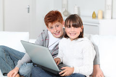 Children and computers Stock Image