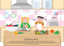 Children cook in the kitchen. Culinary Arts concept. Cooking Cla Royalty Free Stock Photos