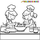 Children cooking coloring book page. Vector illustration of a black and white outline image of a boy and a girl cooking in the kitchen Royalty Free Stock Photo