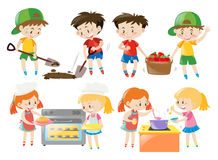 Children cooking and doing things in garden royalty free illustration