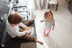 Children cooking holiday pie Royalty Free Stock Photo