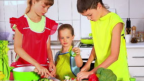 Children cooking at kitchen. stock video footage