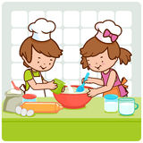 Children cooking. A little boy and a little girl cooking together in the kitchen vector illustration
