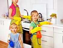 Children cooking at kitchen. Stock Image