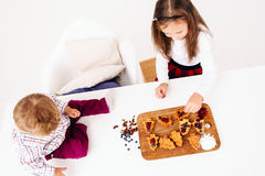 Children cooking pastry, top view, free space Royalty Free Stock Photography